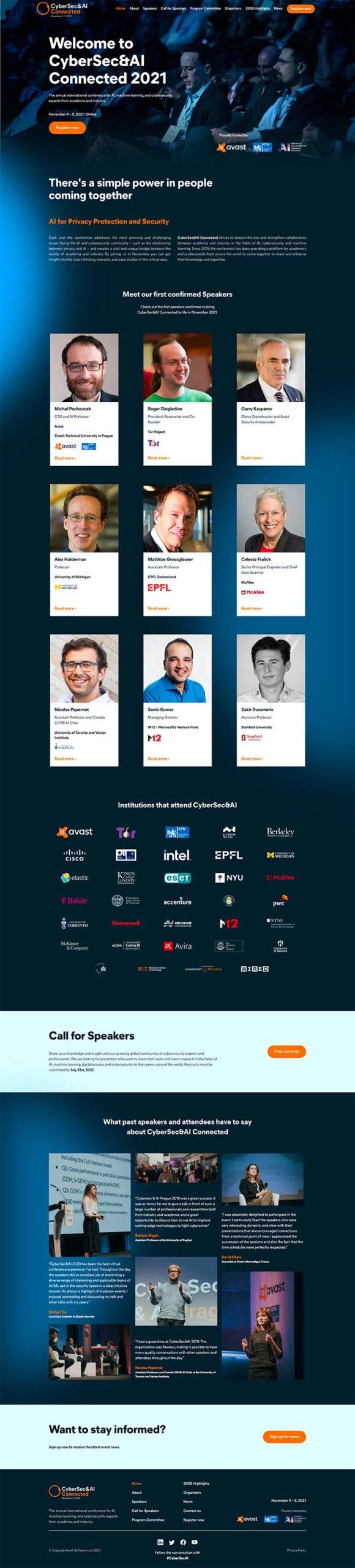 avast event online conference website design